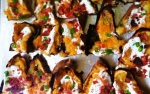 Loaded Turkey Bacon & Cheddar Sweet Potato Skins