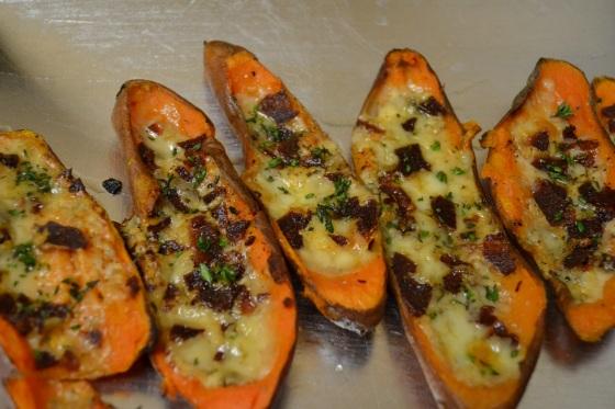 Turkey Bacon & Gorgonzola Sweet Potato Skins with Fresh Thyme