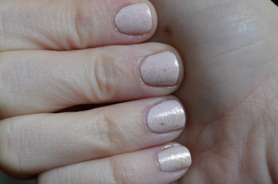 Festive Pale Pink and Gold Mani
