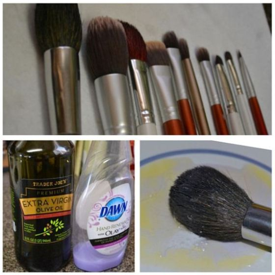 This DIY Makeup Brush Cleaner leaves your brushes clean, soft and conditioned! Just 2 parts antibacterial dish soap with 1 part extra virgin olive oil! Amazing!