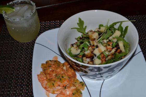 Garlic Baked Shrimp and Arugula Salad