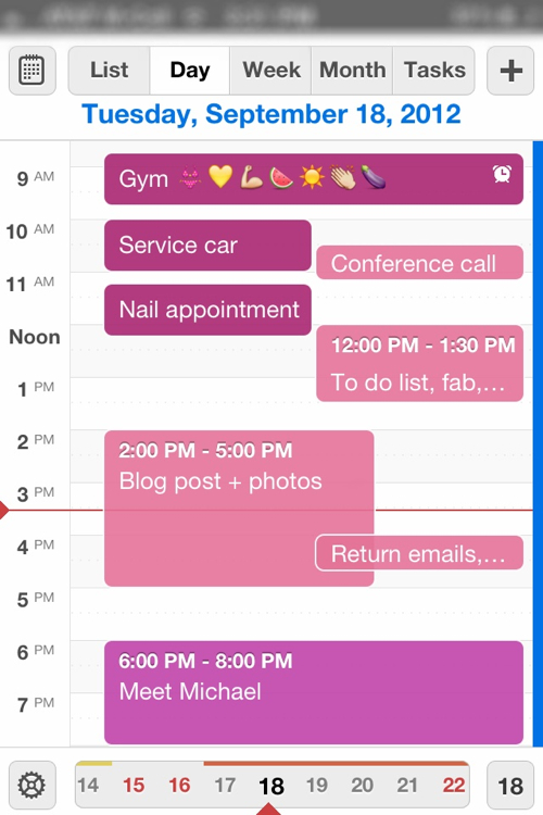 Lauryn's scheduled workouts