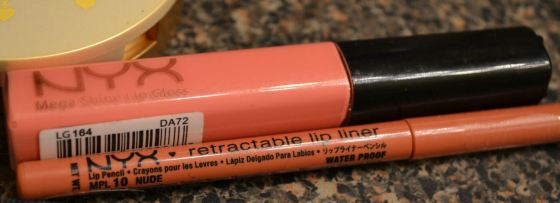 NYX Nude Lipliner with NYX Mega Shine Lip Gloss in Nude Pink 2