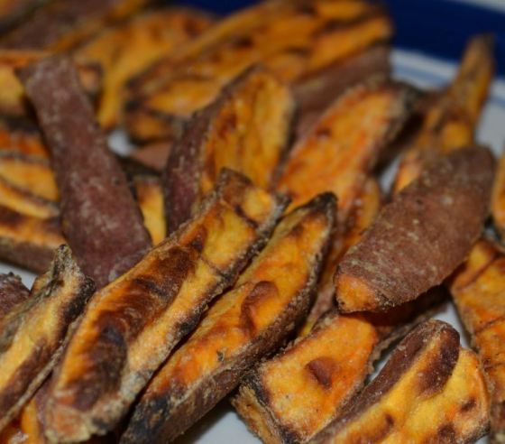 Perfect Sweet Potato Oven Fries!  The trick is corn starch!