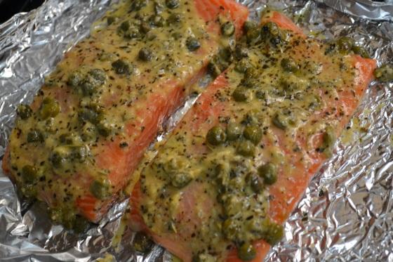 Dijon Caper Herb Salmon