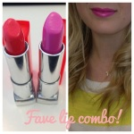 The perfect neon candy pink:  Maybelline Vivids Shocking Coral with Pink Pop on top!  <3