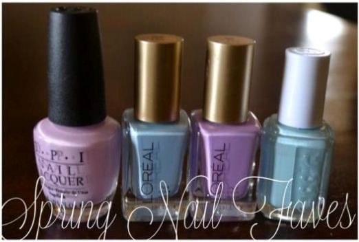 Spring Nail Faves (OPI Mod About You, L'Oreal Royally Yours, L'Oreal Lacey Lilac, Essie Mint Candy Apple)