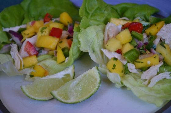 Chicken Lettuce Wraps with Mango Salsa & Lime