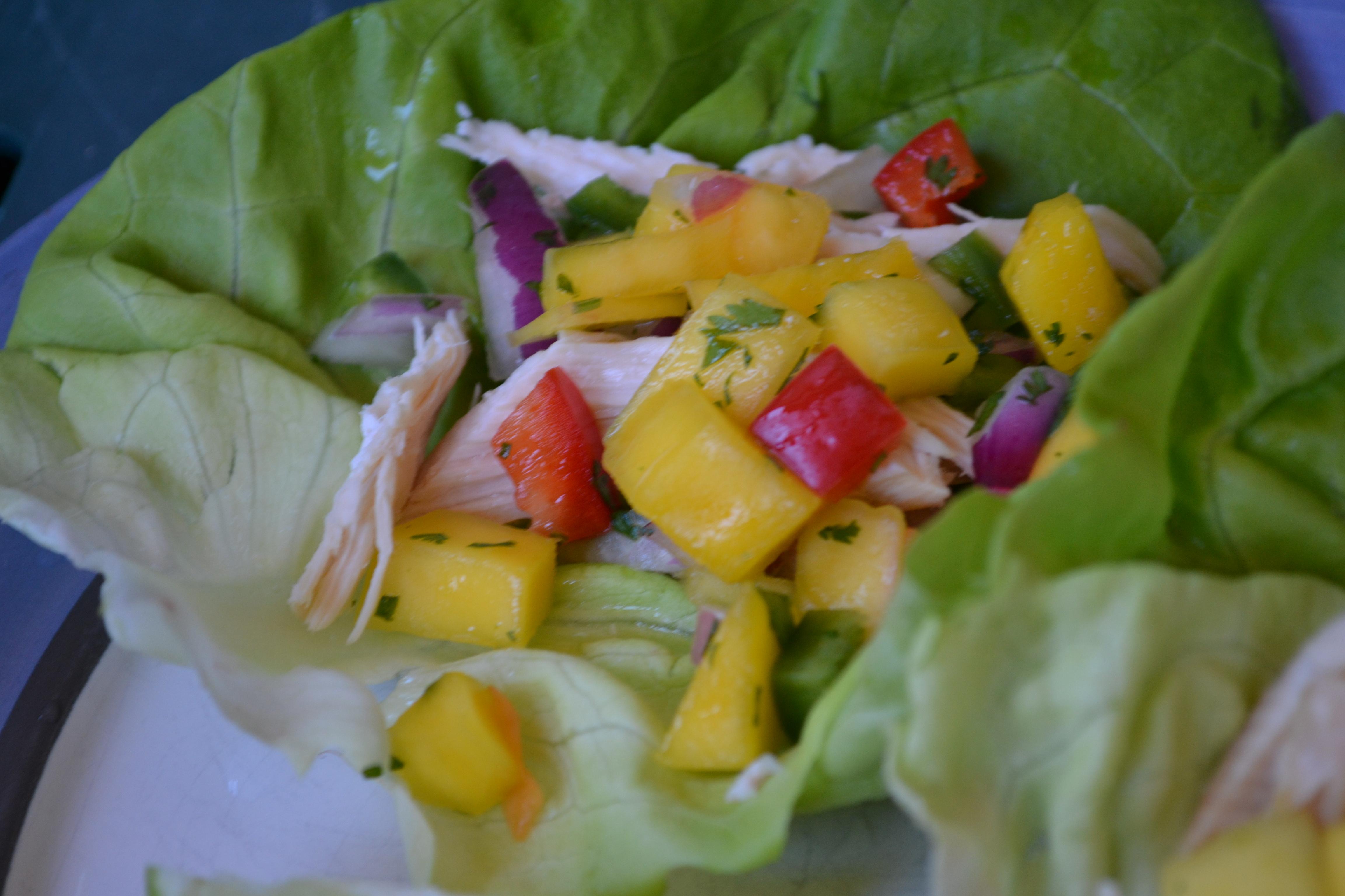 Chicken Lettuce Wraps with Mango Pico de Gallo & Lime | Gourmet Beauty