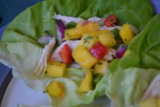 Chicken Lettuce Wraps with Mango Pico de Gallo & Lime