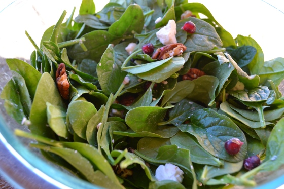 Pomegranate Spinach Salad with Dijon Balsamic Vinaigrette